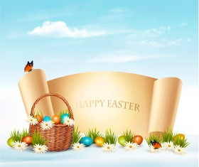holiday easter background with paper banner vector 02