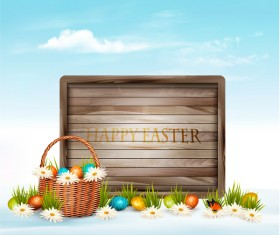 holiday easter background with wooden board vector