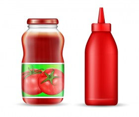 ketchup jar with bottle vector
