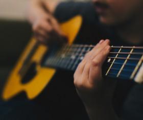 man playing guitar Stock Photo