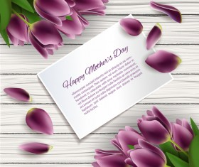 mothers day card with purple flower and wooden background vector