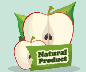 natural apple label vector