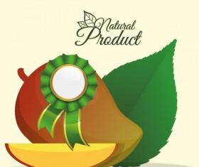 natural mango label vector