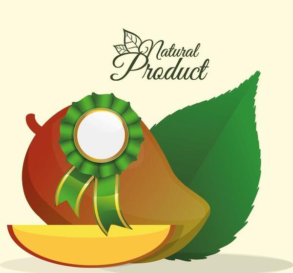 natural mango label vector