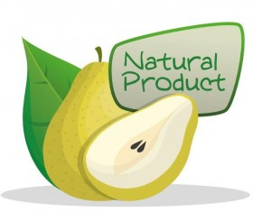 natural pear label vector