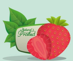 natural strawberry label vector