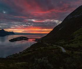 peaceful mountain sea landscape at dusk Stock Photo