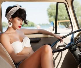 sitting in car woman Stock Photo 01
