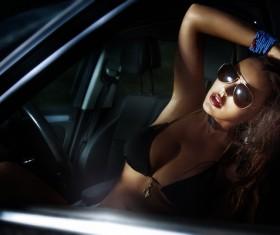 sitting in car woman Stock Photo 03