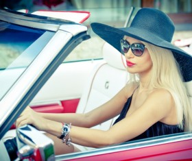sitting in car woman Stock Photo 04