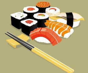 sushi with chopsticks vector material 01