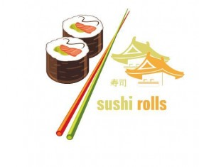 sushi with chopsticks vector material 02