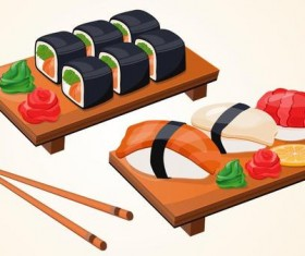 sushi with chopsticks vector material 03