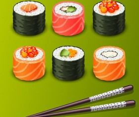 sushi with chopsticks vector material 04