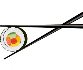 sushi with chopsticks vector material 05
