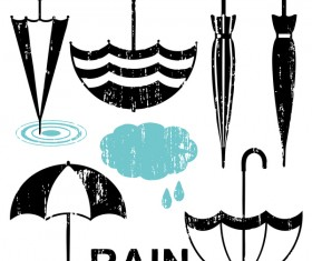umbrellas scratched silhouette vector material