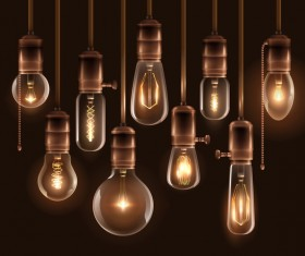 vintage glowing light bulbs set vector