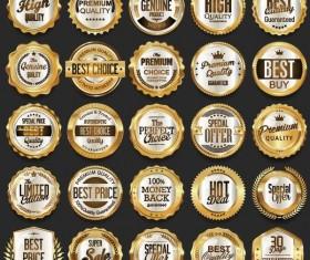 25 Kind golden badges vectors