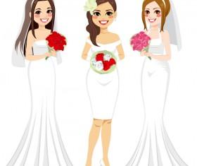 3 Beautiful bride vector