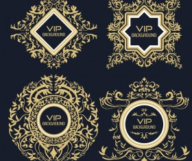 4 Kind golden VIP labels vector