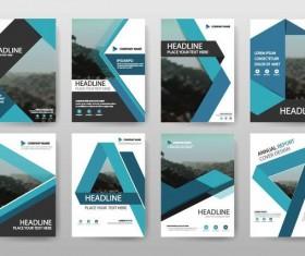 8 Kind blue brochure cover vectors