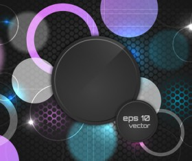 Abstract cricles with black elements vector background 01