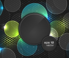 Abstract cricles with black elements vector background 02