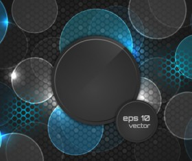 Abstract cricles with black elements vector background 03