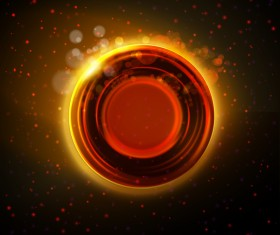 Abstract hot orange glowing ring background vector