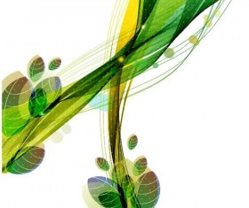 Abstract leaves with colored wave background vector