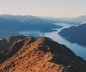 Amazing mountain lake landscape from height Stock Photo
