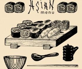 Asian menu cover template vector