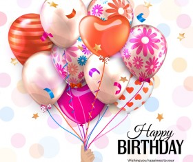 Beautiful balloon with birthday background vector