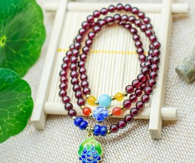 Beautiful garnet bracelet Stock Photo