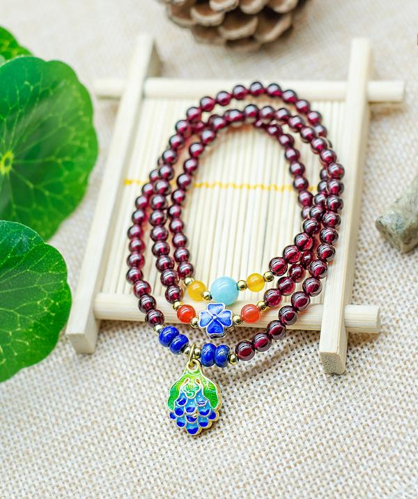 Beautiful garnet bracelet Stock Photo