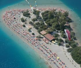 Beautiful island beach resort from height Stock Photo
