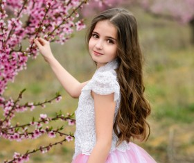 Beautiful little princess and cherry blossom Stock Photo 03
