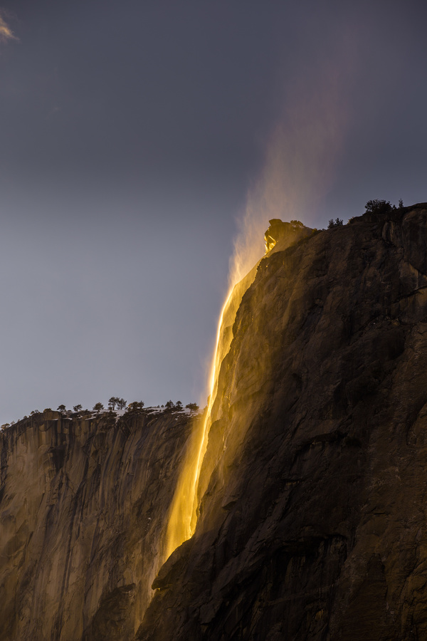 Beautiful waterfall scenery under sunlight Stock Photo