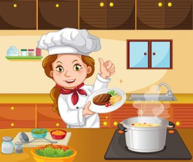 Beautiful woman chef in the kitchen vector