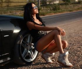 Beautiful woman with luxury car Stock Photo 01