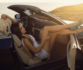 Beautiful woman with luxury car Stock Photo 03