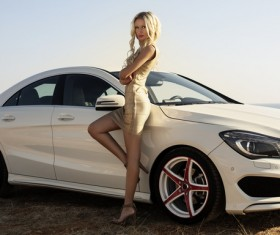 Beautiful woman with luxury car Stock Photo 04