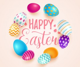 Beige easter background with easter egg vector 01