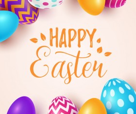 Beige easter background with easter egg vector 02