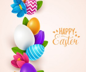 Beige easter background with easter egg vector 03