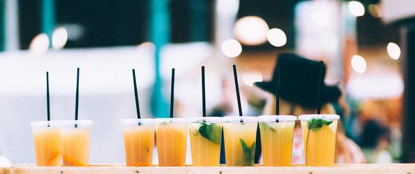 Belicious fresh fruit cocktail glasses Stock Photo