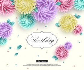 Birthday card with paper cut flower vectors