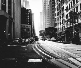 Black and white photo of city street Stock Photo
