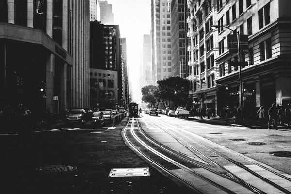 Black and white photo of city street Stock Photo