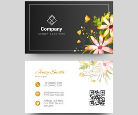 Black business card with watercolor flower vector